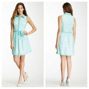 🆕Kensie Lace Dress Splash Bottom Up Collared Belt
